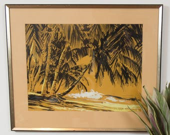 Palm Trees 1960's Acrylic Painting - Signed Alex Von Svoboda - Beach Ocean Tropical Orange and Black Artwork