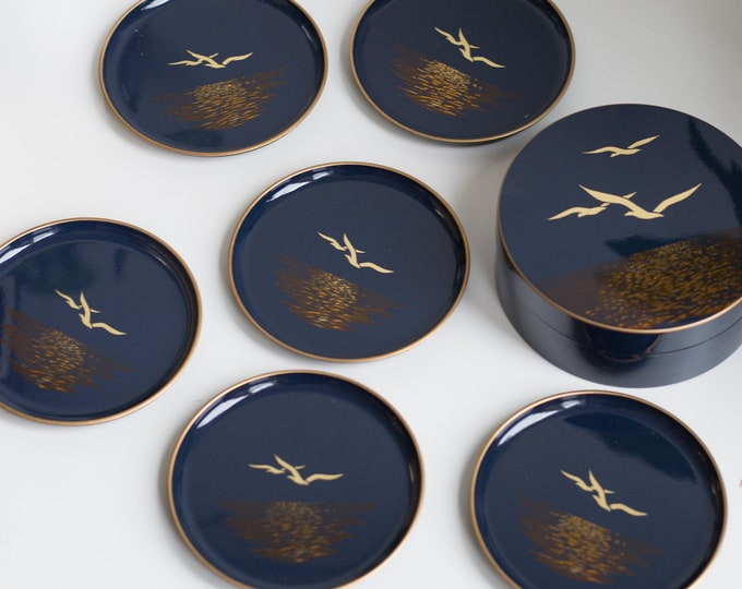 Vintage  Flying Bird Coasters - Navy Blue and Gold metallic Nautical Otagiri Cocktail Glass Coasters - Boating yacht sailing Decor