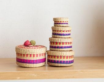 Vintage Nesting Basket Set - Modern Boho Decor - Muted Sisal / Rattan / Wicker Style Handwoven Round Jewelry Storage Boxes