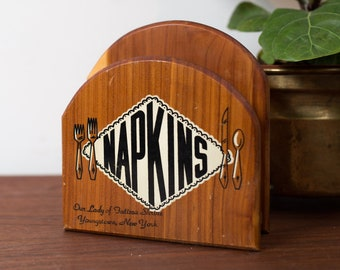 Vintage Napkin Holder - Wood Diner Style Napkin Holder with Retro Advertising and Lettering