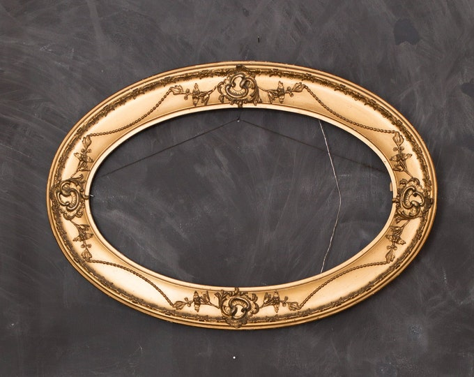 Antique Gold Frame - Brass Coloured Rustic Ornate Oval Wood Frame for Prints, Artwork, Painting Pictures, Mirror