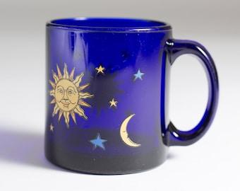 Blue Celestial Mug - Collectible Vintage Libbey Cobalt Blue Sun, Moon, Stars Coffee Cup - Monica Geller Friends Mug