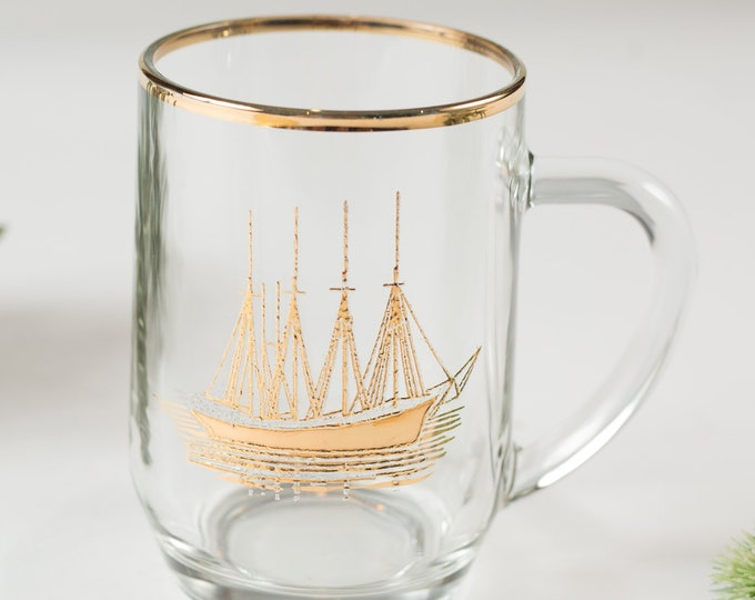 Nautical Ship Mug - Gold Decal Vintage Sailboat Beer or Cocktail Glass - Ocean Sailing Pirate Mug - Gift for Dad - Father's Day Gift