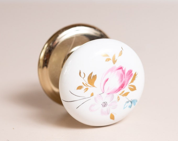 Vintage Porcelain Bi-Fold Interior Dummy Door Knob by Gainsborough  - White Handle and Gold Hardware Door Pull from Australia