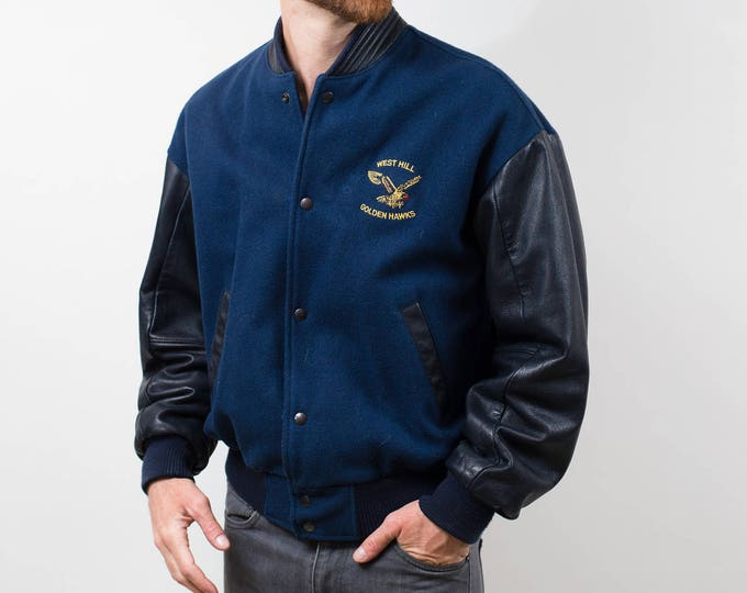 Hockey Varsity Jacket / Vintage Medium Blue Wool and Leather Bomber with Eagle / Spring Fall Biker Athletic Sports Coat / Made in Canada
