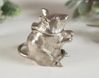 Vintage Silver Coloured Mouse Ink Holder - Antique Lidded Mice Decor - Mother's Day Gift - Father's Day Gift -
