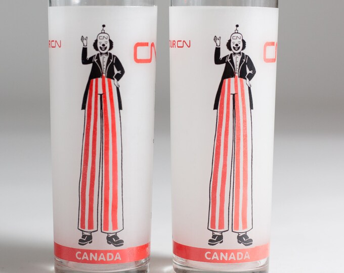2 CN Tower Glasses - Frosted Bar Glasses - Tom Collins Vintage Toronto Drinking Highball Glasses with Sky Walker Cocktail Recipe and Clowns