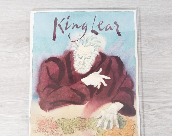 King Lear Poster in Plexiglass Hanging / Lincoln Center Theater Production / William Shakespeare Directed by Jonathan Miller