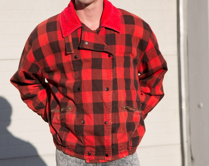 Vintage Bomber Jacket / Retro Canadian Buffalo Plaid Button up Coat / Red and Black Checkered Lumberjack Cabin Fever Outdoor Coat