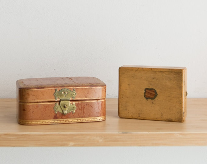 Vintage Trinket Boxes - Handmade Jewelry and Watch Box - Brown Colored Wood and Leather Box - Gift for Him - Present for Dad