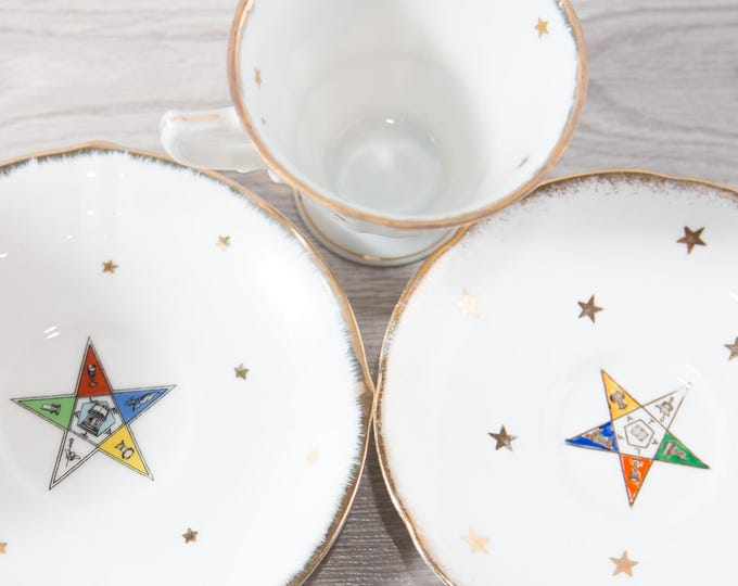 Vintage Freemasons Cup and Saucer / Tuscan China / Collectible Masonic Teacup and Plate Set / 40's/50's / Royal Stafford Bone China England