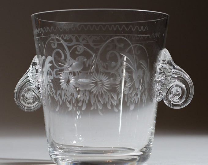 Vintage Ice Bucket - Floral Etched Crystal Glass Ice Bucket with Spiral handles and Flowers