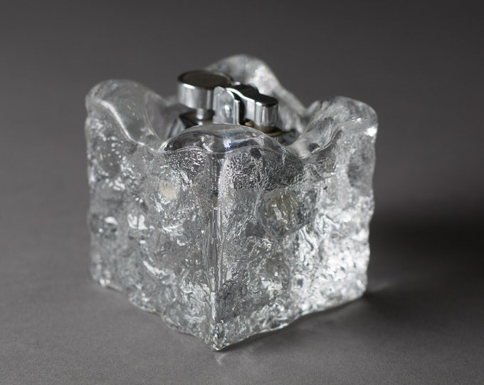 Vintage Ice Glass Lighter - Clear Glass Mid Century Modern Finnish Scandinavian Style Flint Lighter