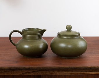 Green Sugar and Creamer Set - Myott England Studio Pottery Art Ceramic Forest Green Glaze Geometric Mid Century Modern Pottery