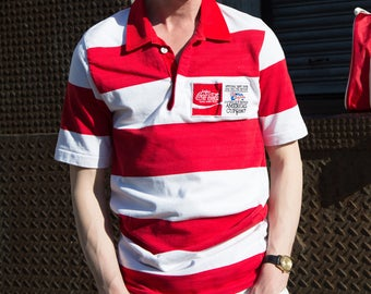 "Coca Cola Rugby Shirt / 1980's Small Red and White Stripes Sports Jersey with Emblem ""Australia's Defence America's Cup 1987"""