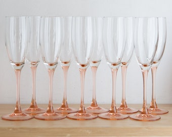 10 Vintage Champaign Flutes - 1980's Pink Stem Glasses - New Year's Eve Party Celebration Glassware - Liquor Stemware / Mother's Day Barware