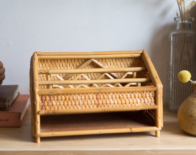 Vintage Desk Organizer - Paper Tray - Rattan Wicker Boho Modern Decor - Gift for Him - Gift for Her - Miami Chic