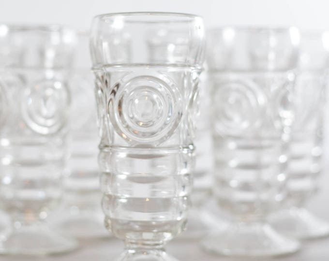 Vintage Milkshake Glasses / Set of 7 Retro Cocktail bar Glasses with Circle Hypnotic Geometric Design / Striped Glassware