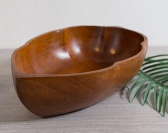 Large Teak Salad Bowl - Vintage Solid Exotic Wood Food Safe Serving Appetizer Dish Platter - Handcrafted Hardwood - Danish Modern Leaf Bowl