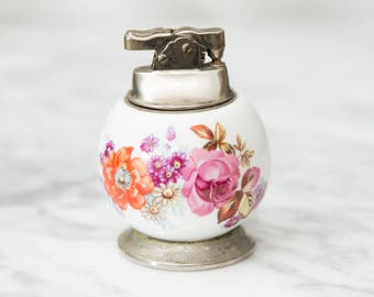 Vintage Collectible Lighter - Round White Ceramic and Metal Floral Vintage Flint Lighter - Mid Century Modern Decor - Flowers Decor