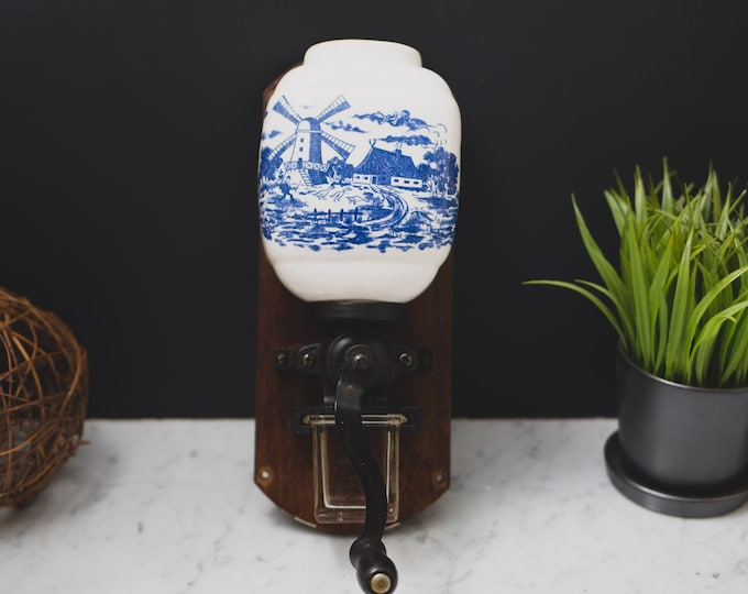 Vintage Coffee Grinder - Ceramic White and Blue on Coffee Bean Grinder - Metal and Wood Hand Crank  Rustic Cottage or Coffee ShopDecor