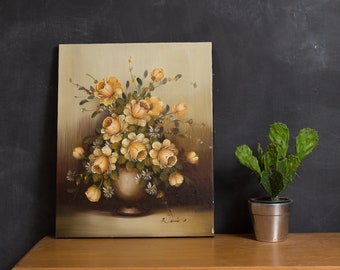 Vintage Painting on Canvas - Ornate Yellow Flower Oil Painting - Signed Artwork