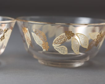 5 Vintage Glass Bowls with Gold Leaf Decals - Fruit Parfait Dessert Bowls - Mid Century Modern Elegant Autumn Thanksgiving Serving Bowls