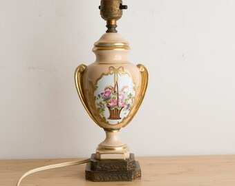 Vintage Desk Lamp - Ceramic Victorian Urn Style Accent Lamp - Old Antique Cafe Style Light with Painted Flowers and Gold Floral Motif