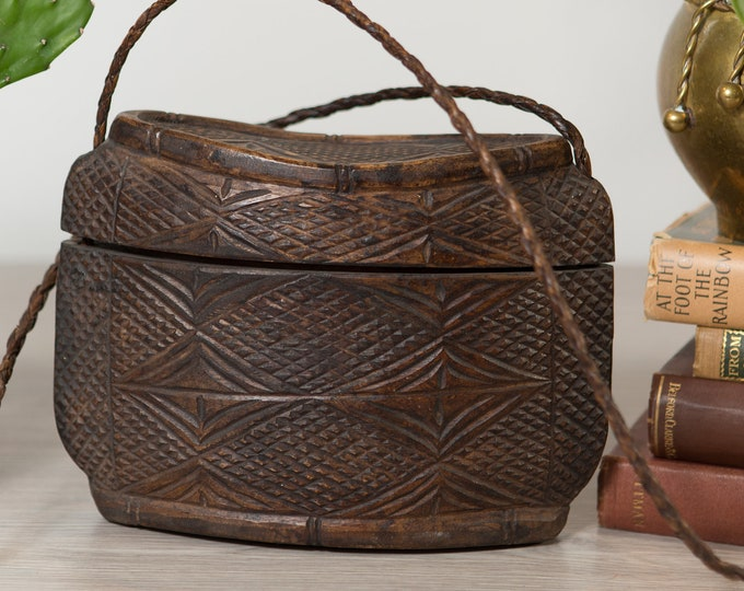 Hand Carved Wood Shoulder Bag - Vintage Brown Geometric Lidded Wood Case  -Rustic traditional Tribal Indigenous Decor