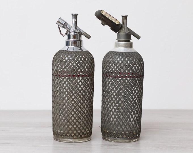 2Vintage Seltzer Bottles - Wire Mesh Soda Siphon - Vintage Cocktail Barware - Glass Bottle - Braided Metal Soda Siphon - Vintage Barware
