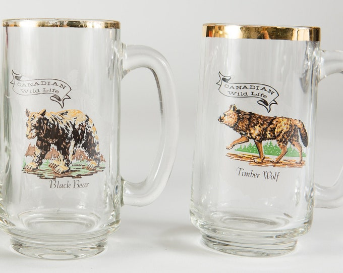 Canadian Wildlife Mugs - 14oz Gold Rim Vintage Beer or Cocktail Glass with Timber Wolf and Black Bear - Gift for Dad - Father's Day Gift