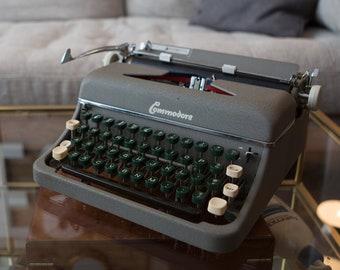 Commodore Typewriter - Vintage WORKING Grey Portable Typewriter with Original Carrying Case - Mid Century Modern Decor