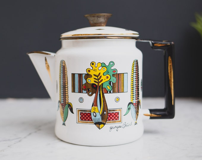 Vintage Georges Briard Coffee Pot - 40 oz Farmhouse Kitchen Enamel Decorative Tea Pot - Mid Century Modern Enamelware with Vegetables Motif