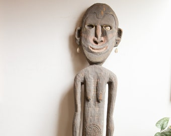 Vintage Fertility Statue - Large African Hardwood Hand-carved Grey Coloured Wood Boho Standing Man or Woman Ceremonial Indigenous Art