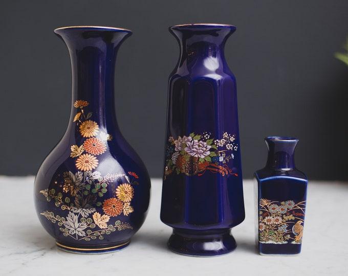 3 Vintage Cobalt Blue Vases - Asian Style Peacock Bird Ceramic Pottery Vase - 1980's Flower Vase with Gold Leaf Motif