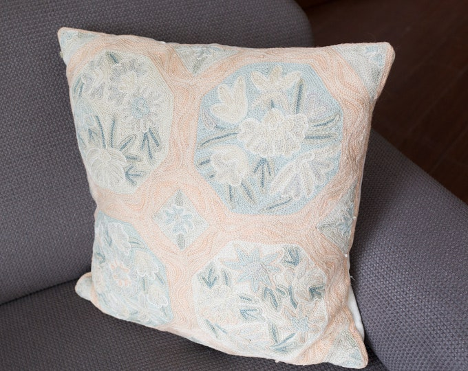 Vintage Crochet Pillow - 15x15 Salmon Pink and Soft Green Floral Leafy Ornate Pattern Cross Stitch Decorative Throw Pillow