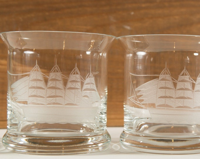Nautical Ship Glasses - 4 Vintage Etched Sailboat Beer Stein Glasses -Made in Romania Hand Etched Toscany Ocean Sailing Glass / Gift for Dad