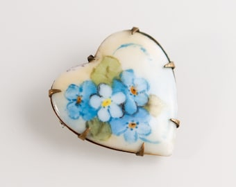 Antique Heart Shaped Enamel and Brass Pin / Brooch with Blue Flower Artwork - Vintage Art Deco Jewelry
