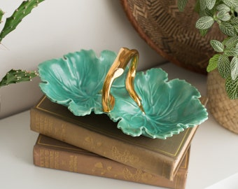 Vintage Chip-n-Dip Ceramic Tray - Green and Gold Condiment Bowl - Handcrafted Studio Pottery