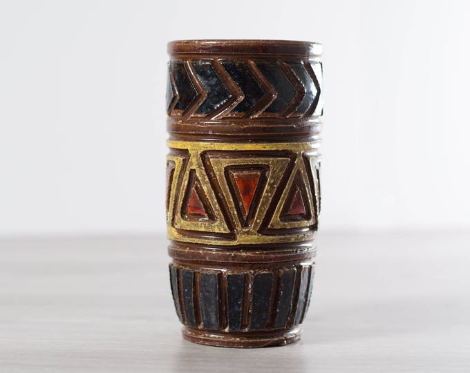 Vintage Carved Ceramic Vase / Brown, Black, Yellow and Red Tone Geometric Southwestern Triangle and Arrow Shape Flower Vase