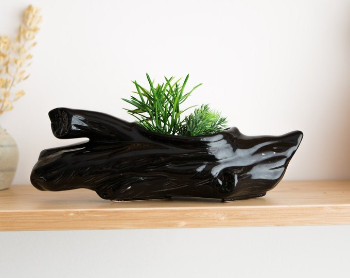 1970's Log Planter - Vintage Black Faux Wood Driftwood Log Ceramic Plant Pot - Modern Boho Kitsch Woodland Cabin Succulent Cactus Planter