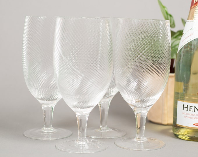 Vintage Cocktail Glasses - Set of 4 Twisted Swirl Large Wine Glasses - Mid Century Modern Ice Design Norwegian Glass
