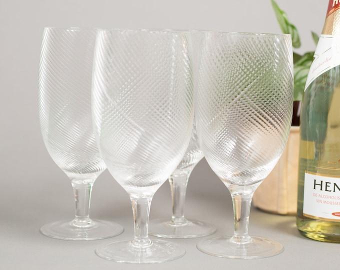 Vintage Cocktail Glasses - Set of 4 Twisted Swirl Large Wine Glasses - Mid Century Modern Ice Design Norwegian Glass