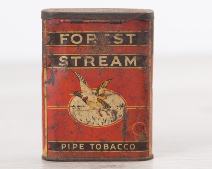 Antique Tobacco Cigarette Tin Canister / Forest Stream Pipe Tobacco Tin