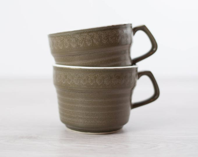 Vintage Ceramic Coffee Cups / Pair of Dark Green Earth-tone Casual Ceram Made in Japan Teacups with white interior