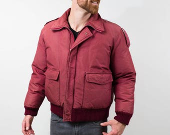 Vintage Men's Medium Down Filled Burgundy Red Winter Bomber Jacket / Sears The Men's Store Coat / Made in Canada