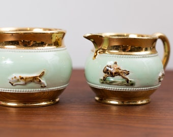 Vintage Sugar and Creamer Set - Bourne Denby Derby Made in England -Mint Green Glaze with Running Foxes, Dogs, Horses