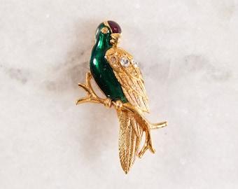 Vintage Parrot Brooch - Gold Tone Avon Figural Bird Pin with Rhinestones