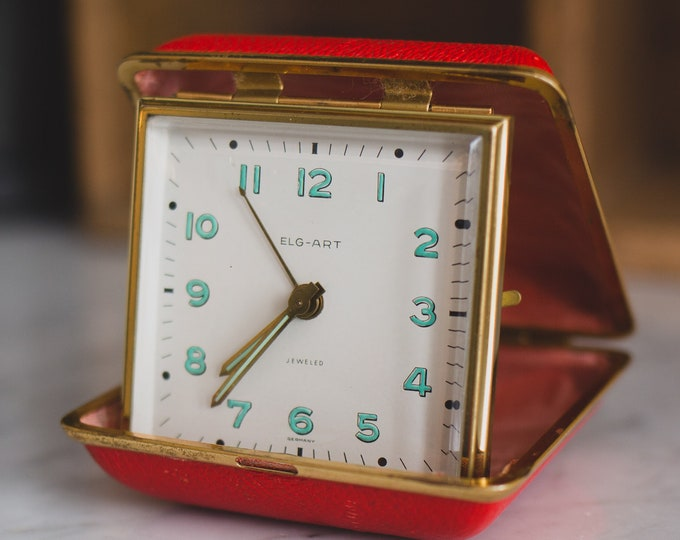 Gold Wind-up Alarm Clock in Portable Red Clasp Case - Vintage Elg Art Jeweled Alarm Clock - Made in Germany - Mid Century Bedside Clock