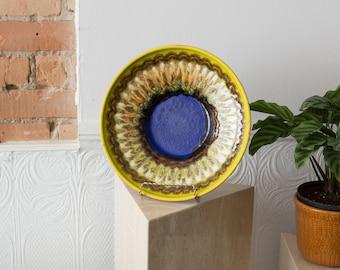West Germany Plate - Vintage Yellow and Blue Glaze Bowl - Boho Modern Geometric Abstract Handmade Studio Art Pottery Tray  - Space Age Decor